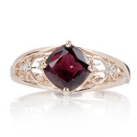 Tocantins Garnet & Diamond Accent Open Work Ring 9ct Rose Gold
