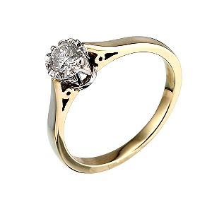 Two Colour Gold Quarter Carat Diamond Ring