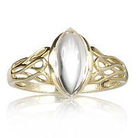 Uri Geller 9ct Gold Rock Crystal Eternity Marquise Ring