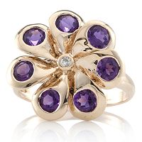 Uruguayan Amethyst Floral Spinner Ring 9ct Rose Gold