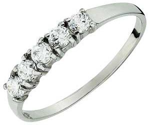 White Gold 5 Stone Cubic Zirconia Half Eternity Ring