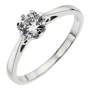 White Gold Cubic Zirconia 1-2 Carat Look Solitaire Ring