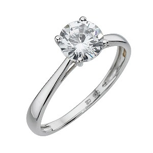 White Gold Cubic Zirconia 1 Carat Look Solitaire Ring