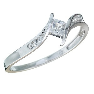 White Gold Cubic Zirconia Ring for Wedding