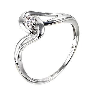 White Gold Cubic Zirconia Twist Ring