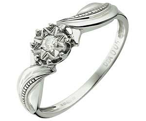 White Gold Diamond Solitaire Fancy Twist Ring