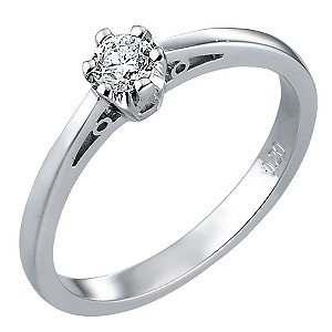 White Gold Fifth Carat Diamond Solitaire Ring