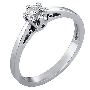 White Gold Quarter Carat Diamond Solitaire Ring