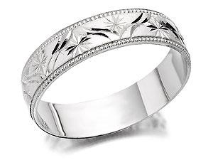 White Gold Stars Brides Wedding Ring
