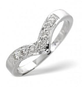 Wishbone Ring 0.11CT Diamond 9K White Gold