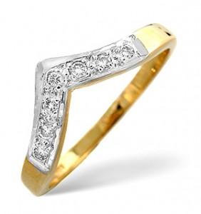 Wishbone Ring 0.11CT Diamond 9K Yellow Gold