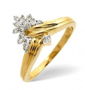 Wishbone Ring 0.19CT Diamond 9K Yellow Gold