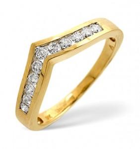 Wishbone Ring 0.27CT Diamond 9K Yellow Gold