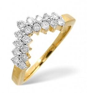 Wishbone Ring 0.45CT Diamond 9K Yellow Gold