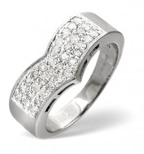 Wishbone Ring 0.50CT Diamond 9K White Gold