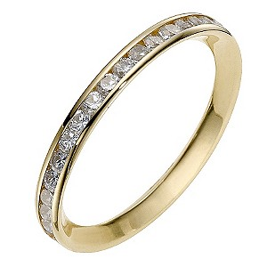 Yellow Gold Cubic Zirconia Channel Set Eternity Ring