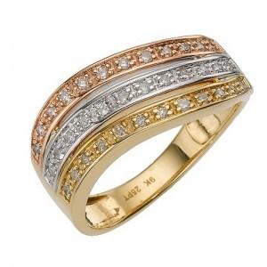 three colour gold quarter carat dress ring