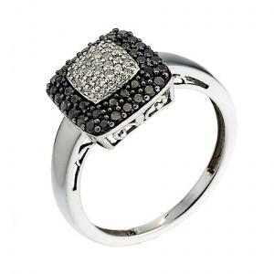 white gold half carat black and white diamond ring