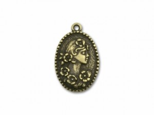 Antique Brass Right Facing Woman's Profile with Flowers Pendant