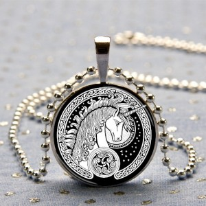 Celtic Unicorn Art Pendant in a Silver-Tone Bezel