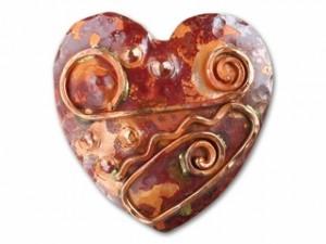 Copper Large Art Deco Heart Pendant
