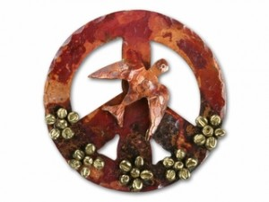 Copper Peace Sign Pendant with Dove and Flowers