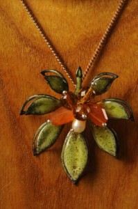 Enameled Flower pendant