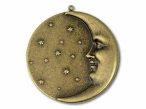 Kabela Design Antique Brass Man In the Moon Pendant