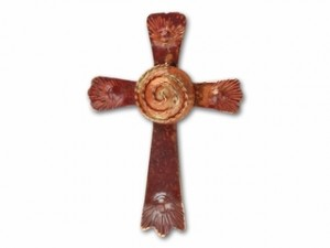 Large Copper Cross with Spiral Center
