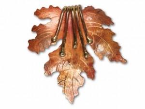 Patricia Healey Copper Oak Leaf Pendant with Tendrils