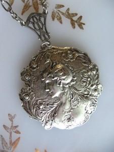 Silver Goddess and Peacock Bird Necklace - Brianna