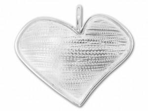 Silver Plated Brass Abstract Heart Bezel Pendant