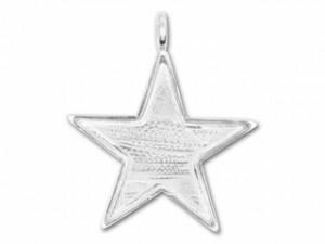 Silver-Plated Brass Star Bezel Pendant