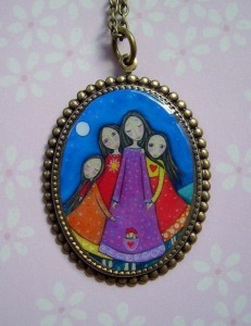 Sisters In All Lifetimes - Cameo Art Pendant - Oxidised Vintage Brass