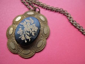 Winterberry Brass Vintage Glass Intaglio Pendant Necklace