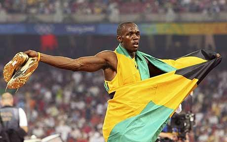 Usain Bolt Celebrating After Win