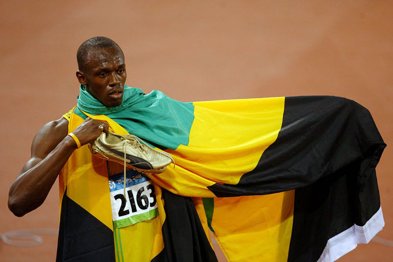 Usain Bolt With his Country Flag