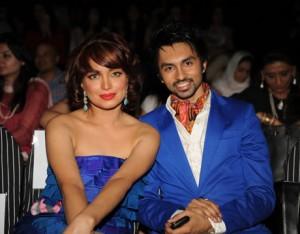 Aamina Haq with Hamza Tarrar at PFDC Fashion Week Karachi