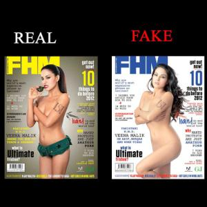 Veena Malik Fake and Real Photoshoot