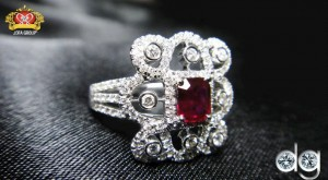 Diamond Ring with Ruby