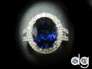 Diana Cut Diamond Ring With Saphire