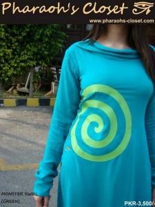 MONSTER SWIRL Green Pakistani Dresses Prices