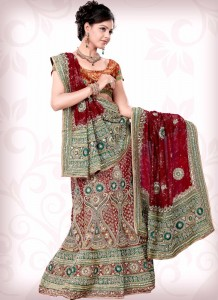 Maroon Ornate Bridal Wear