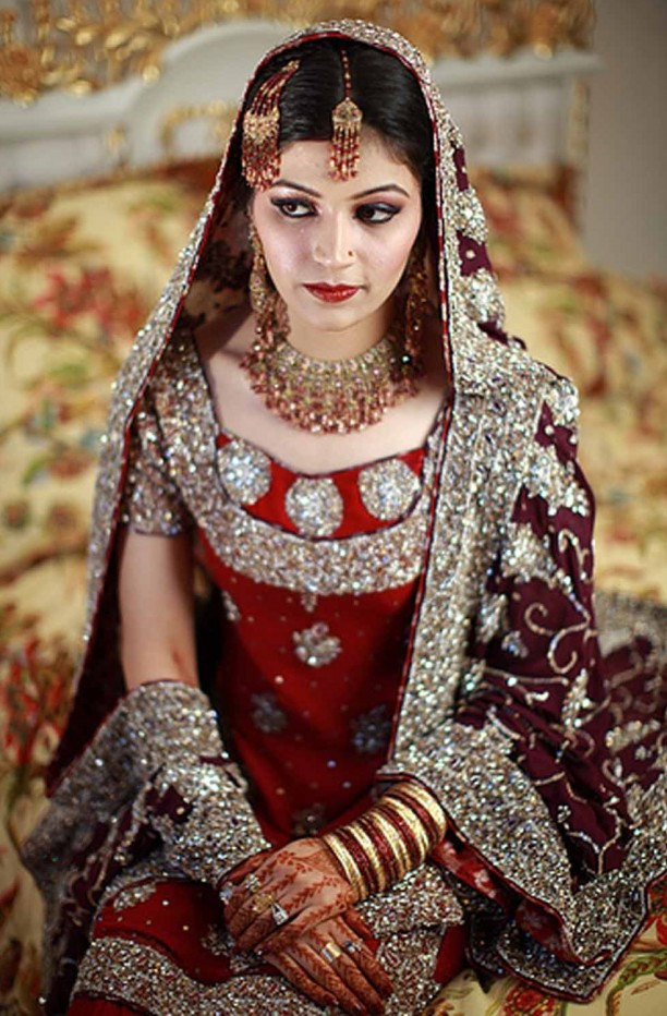 Maroon Pakistani Bridal Dresses 2012