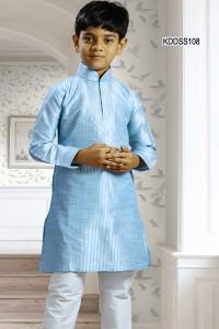 Pastel Blue Art Dupion Kurta Pyjama