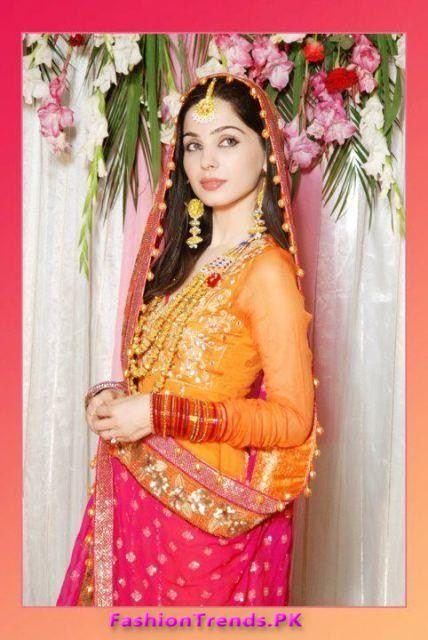 Pakistani latest multi color bridal mehndi dresses 2012 for Pakistani wedding mehndi dresses