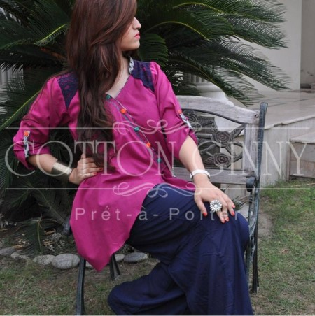 Cotton Ginny Tunics Collection 2013 Bakra Eid Party pink dress
