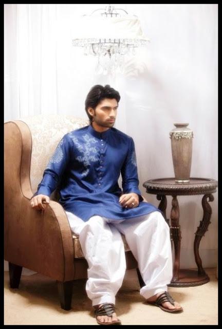 Emran Rajput Men's Kurta Collection 2013 blue dresses