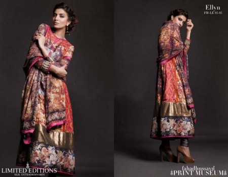 Fahad Hussayn Print Museum Collection Dresses 2013 for Bakra Eid photo picture