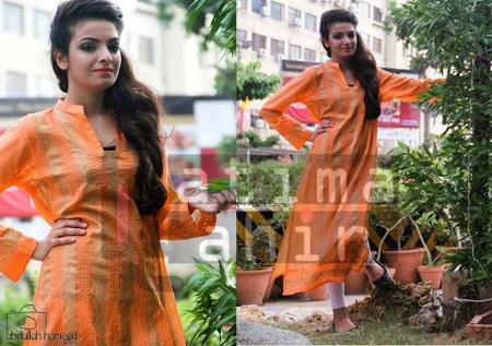Fatima Tahir Midsummer Women Collection 2013 orange color dress